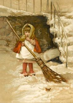 Little Girl Sweeps The Snow By The Steps Watched By A Robin Lizzie Lawson Mack (1858 – 1905, English)