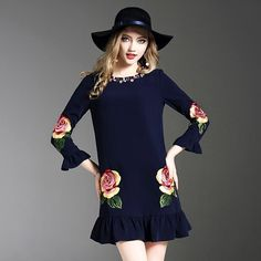 2018 New Spring Pretty Beading Embroidery Ruffled Dress High Quality Three Quarter Sleeve Above Knee Mini SLim Cute Dress