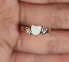 Natural Heart Opal Diamond accent 10k Yellow Gold Promise Engagement Ring