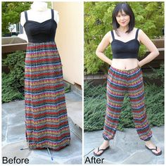 This step by step tutorial shows you how to refashion a thrifted maxi dress into a hip pair of jogger pants and matching crop top.