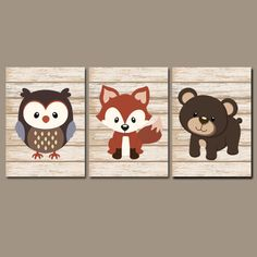 WOODLAND Animal Wall Art Fox Owl Bear Shiplap Wood by TRMdesign