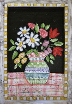 SPRING BOUQUET Flowers Painted on Screen in a by DianeTrierweiler, $24.99