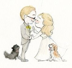 Le Petit Elefant by Genevieve Santos - Greetings & illustrations to awaken the adventure-seeking, silly, romantic kid in you. Wedding Invitations Examples, Relationship Drawings, Cute Couple Cartoon, Wedding Illustration, Diy Canvas Art, Yellow Wedding, Pencil Portrait, Cute Art, Cute Couples