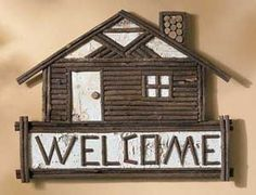 Thank you. You will receive a $1 off coupon during checkout. Birch and Twig Log Cabin Welcome Sign, Rustic Lodge Style