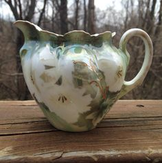 Antique RS Germany creamer or small milk pitcher, Green and white floral cream server, 1910s to 1945 porcelain