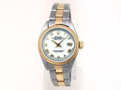 18k Yellow Gold and Stainless Steel. White Roman Numeral Dial. Oyster Band. #6917
