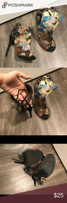 Embroidered print stiletto sandals Love these shoes!   The print is so fun and goes with basically any color. It's a peep toe front and open heel with a lace up detail around the ankles. Shoes Heels