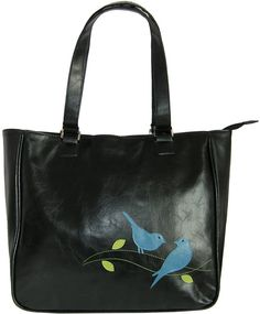 birds vegan leather Tote bag -Black