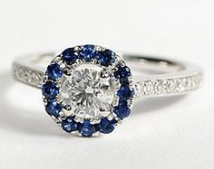 hint---Halo Sapphire and Diamond Engagement Ring in 18k White Gold