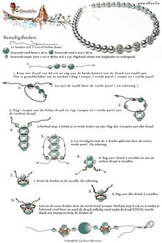 Free pattern for necklace with mini beaded beads from www.elfen.be. Use: 30 Swarovski round beads 8mm, 56 Swarovski round beads 4mm, 142 bicone beads 3mm, 3g seed beads 15/0
