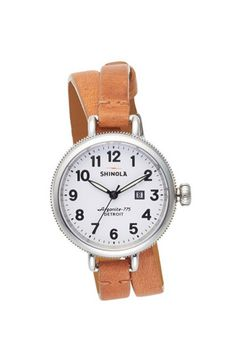 Shinola Double Wrap Leather Watch