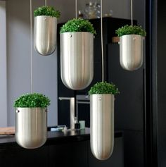 I'm smitten by Hungarian-born designer Gabriella Asztalos's hanging planters, which she calls Floating Gardens–suspended from above by thin metal cables, they appear to float in mid air.