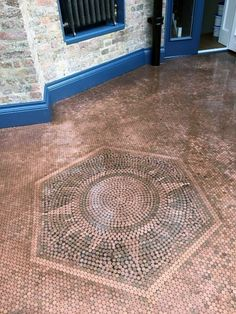 Discover cool tiling projects with the top 60 best penny floor design ideas. Explore industrial and nostalgic copper coin flooring inspiration. Penny Tile Floors, Penny Backsplash, Unique Flooring, Diy Flooring, Basement Flooring, Flooring Ideas, Floor Patterns, Tile Patterns, Penny Boden