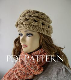 KNITTING HAT PATTERN Braided Hat Easy to make by LiliaCraftParty