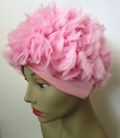 Vintage 1950s Petal Hat // Pink // Curler Cover // Hair by MKRetro, $28.00