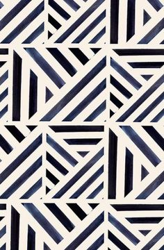 These bold blue lines can modernize a… Bold watercolor stripes triangle pattern. These bold blue lines can modernize any drab home decor! Available in fabric, gift wrap, and wallpaper. Geometric Patterns, Geometric Pattern Tattoo, Triangle Pattern, Line Patterns, Geometric Designs, Textures Patterns, Abstract Pattern, Fabric Patterns, Modern Patterns