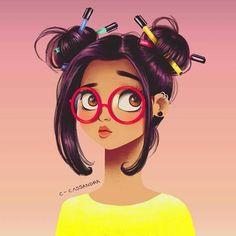 Animation, art, girl, nerd girl