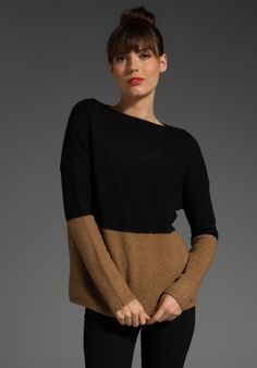 I love this: VINCE Colorblock Boatneck Sweater in Camel & Black      MAKE YOURSELF: Use a tee pattern and add a seam for the color blocking