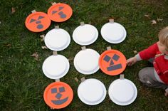 This life size pumpkin memory game is a Halloween party game sure to get kids moving!