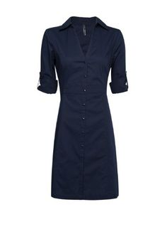 Amazon.com: Mango Women's Fitted Shirt Dress - Ventas7, Navy, Pt: Clothing