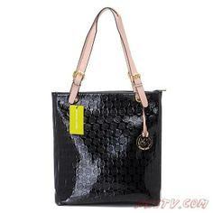 MK1057 Michael Kors Jet Set Mirror Metallic Large Noir Tote