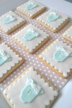 With adorable themed gourmet treats, classic baby boy inspired details and a vintage style milk bar, this sweet milk & cookies themed baby shower had us Fondant Cookies, Milk Cookies, Baby Cookies, Fondant Toppers, Baby Shower Cookies, Cupcake Cakes, Onesie Cookies, Cupcake Art, Shower Party