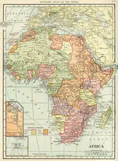 C S Hammond map of Africa, antique historical map, history geography Africa, vintage map printable, old map free graphics