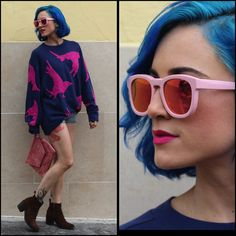 Wildfox Couture Shades, H&M Birds, Levi's® Shorts, Laddu Clutch, Diesel Boots, pink sunglasses