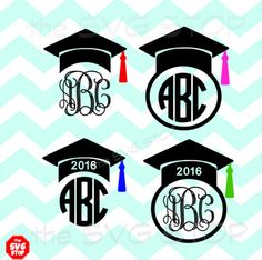 This SVG STOP listing includes our Graduation cap frames design. Great for a graduate gift or senior tshirt or scrapbook! *monogram font not included