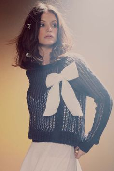 Wildfox Couture Solid Bow Party Sweater in Oxford