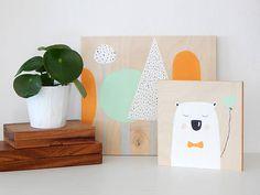Bear with heart balloon. Nursery wall art.  Bear art.