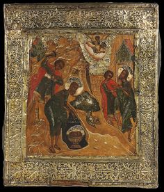 A VERY FINE RUSSIAN ICON OF THE BEHEADING OF JOHN THE FORERUNNER, 16TH CENTURY.     Price realized $11,400