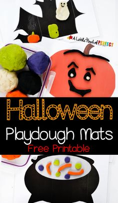 Halloween Playdough Mats Free Printable: Kids can make a grinning pumpkin, a magical spell inside a witch's cauldron, ghosts and ghouls inside a spooky house, and a wiggly spider on a spider web. Manualidades Halloween, Halloween Activities For Kids, Theme Halloween, Toddler Halloween, Halloween Crafts For Kids, Halloween Projects, Preschool Halloween, Halloween Week, Kid Crafts