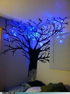 What an artistic idea for easy home mood lighting and permanent night light fixture: hand painted branchy tree on a bedroom wall + LED string lights hanging about. Very whimsical. Gives me TIm Burton vibes. Real Estate Humor, Bedroom Decor, Wall Decor, Bedroom Rugs, Bedrooms, Wall Art, Bedroom Lighting, Bedroom Wall, Girls Bedroom