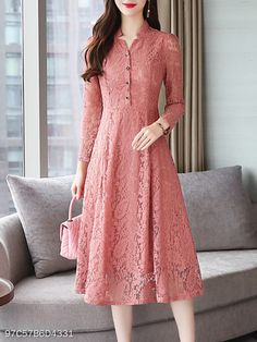 V Neck Single Breasted Lace Plain Maxi Dress - berrylook.com