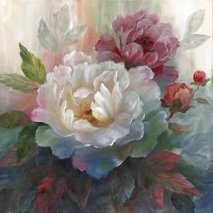 Shop for Portfolio Canvas Decor White Roses I Soft Wrapped Canvas Wall Art. Get free delivery On EVERYTHING* Overstock - Your Online Art Gallery Store! Fabric Canvas Art, Canvas Art Prints, Canvas Wall Art, Art Floral, Rose Art, Beautiful Paintings, Rose Paintings, Framed Wall Art, Flower Art