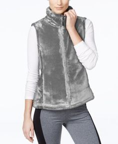 Ideology Lux Faux-Fur Vest, Only at Macy's - Gray XL