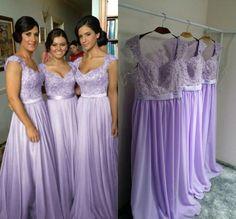Lavender Long Bridesmaid Dresses, Chiffon Bridesmaid Dress, Cheap Bridesmaid Dresses, Elegant Bridesmaid Dress, Wedding Party Dresses, 2016 Bridesmaid Dresses