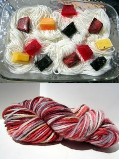 Dye yarn with frozen Kool Aid ice cubes..