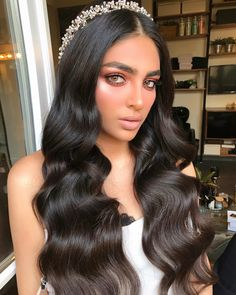 Formal Hairstyles For Long Hair, Curls For Long Hair, Wedding Hairstyles, Bridal Makeup Looks, Wedding Hair And Makeup, Hair Makeup, Long Hair Wedding Styles, Wedding Hair Down, Baddie Hairstyles