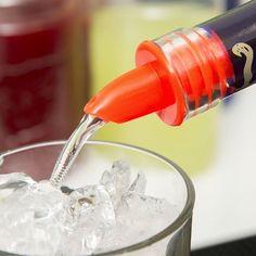 amazon.com/dp/B0160CCNHY 12 Plastic Florescent Red Olive Oil Liquor Wine Free Flow Bottle Pourer Dispenser Spouts.