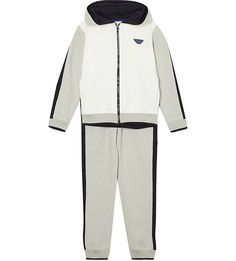 Keep the style stakes high even on their days off with this tracksuit from Armani Junior. Featuring the iconic brand's logo at the back of the jacket, this two-piece set is crafted from cotton to ensure they feel as great as they look. Colour Block, Color Blocking, Tracksuit Set, Sweatpants, Logo, Grey, Cotton, Jackets, Dresses
