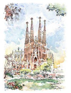 PRINT / Sagrada Família. Antoni Gaudí. por drawingBarcelona en Etsy