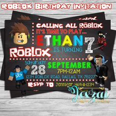 Roblox Birthday Invitation | Roblox Chalkboard Invitation | Personlized Invitation by JexzaiCC on Etsy https://www.etsy.com/listing/506451428/roblox-birthday-invitation-roblox