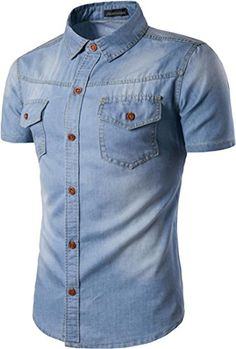 58b2aed5819a4 cool Jeansian Hommes Mode Casual Chemises Manche Courte Men s Fashion Denim  Slim Short Sleeves Dress Shirts