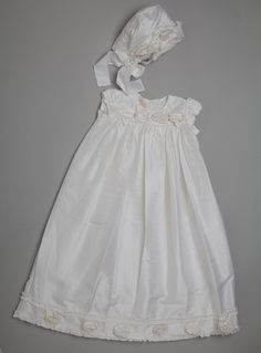 Biscotti Silk Christening Gown and Bonnet for your baby girl's very special day. Beautiful and elegant detail.