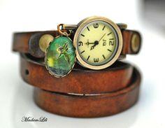 Geluk fee II Armband Echtleder Horlog van MadamLili® ♥ Nostalgische sieraden voor romantici ♥ op DaWanda.com