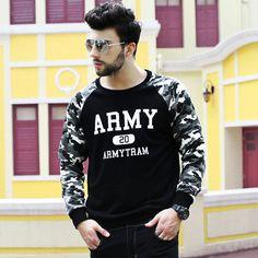 Woo Mens Militarye Army Printing Casual Sweater Plus Size Hoodie Tops Sweatshirt Streetwear Online Store, Casual Sweaters, Hoodies, Sweatshirts, Street Wear, Army, Handsome, Printing, Plus Size