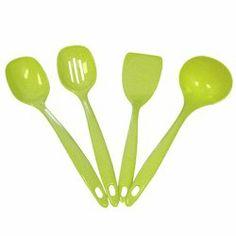 Lime green Utensil Set of 4 for $12.99 #limegrkitchen
