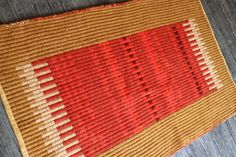 Gold and Red hand woven rug by TwoCedarsWeaving on Etsy, $250.00